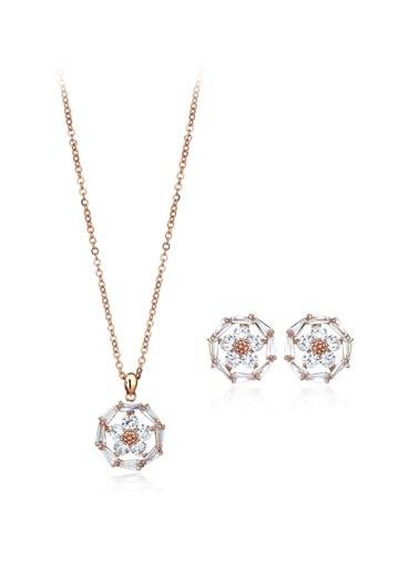 Tophills Diamond Co. 3,90 Ct Pırlanta Efekt Altın Daisy Trapes Roz Set Renkli